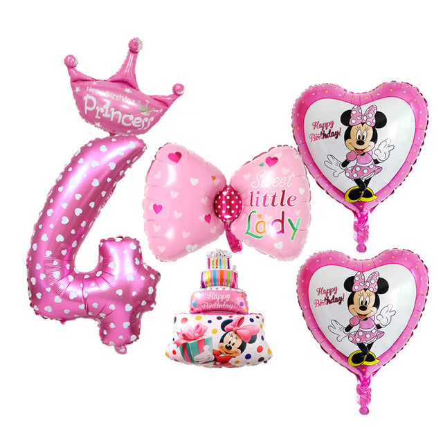6pcs Set 4th Birthday Balloons Digital 4 Foil For Baby Boy Girl