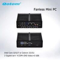 Barato Qotom Barebone sistema Mini PC con Celeron 3215U i3 i5 i7 pfsense Firewall sin ventilador Mini