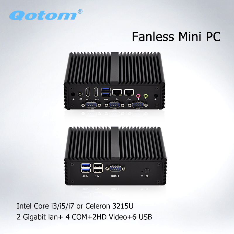 Qotom Barebone System Mini PC With Celeron 3215U I3 I5 I7 Pfsense Firewall Fanless Mini PC Linux Industrial Computer Server