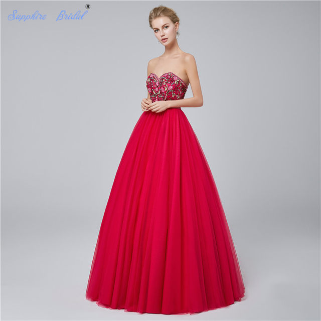 d82e954092b Sapphire Bridal Red Navy Blue Embroidery Ball Gown Floor Length Long Party  Gowns Gorgerous Quinceanera Dresses Hot Sale