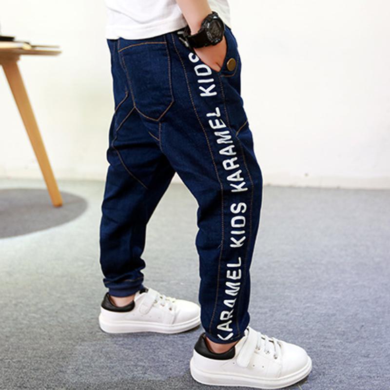 все цены на retail 2018 new spring kids cotton pants boys letter jeans kids stylish trousers loose pants roupas infantis menina leggings