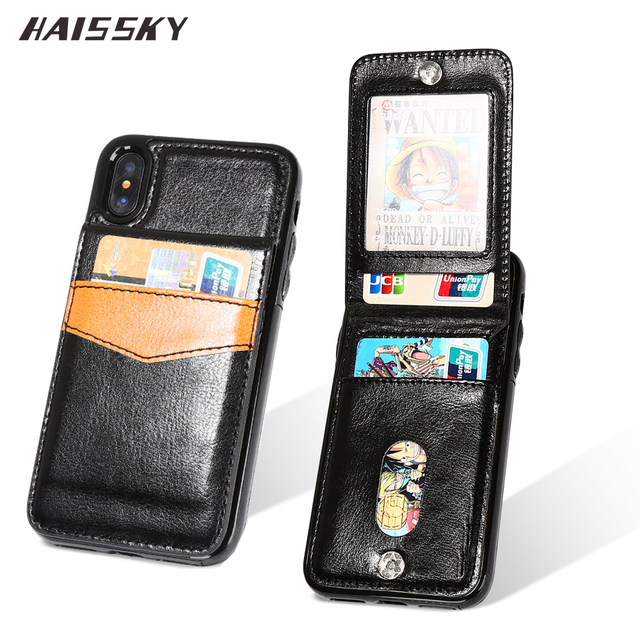 half off 701aa 5c68b US $4.39 10% OFF|HAISSKY Phone Case For iPhone Xs Max XR Case iPhone X 10  Wallet Case Luxury Leather Magnetic Cover Card Holder Mobile Fundas-in ...