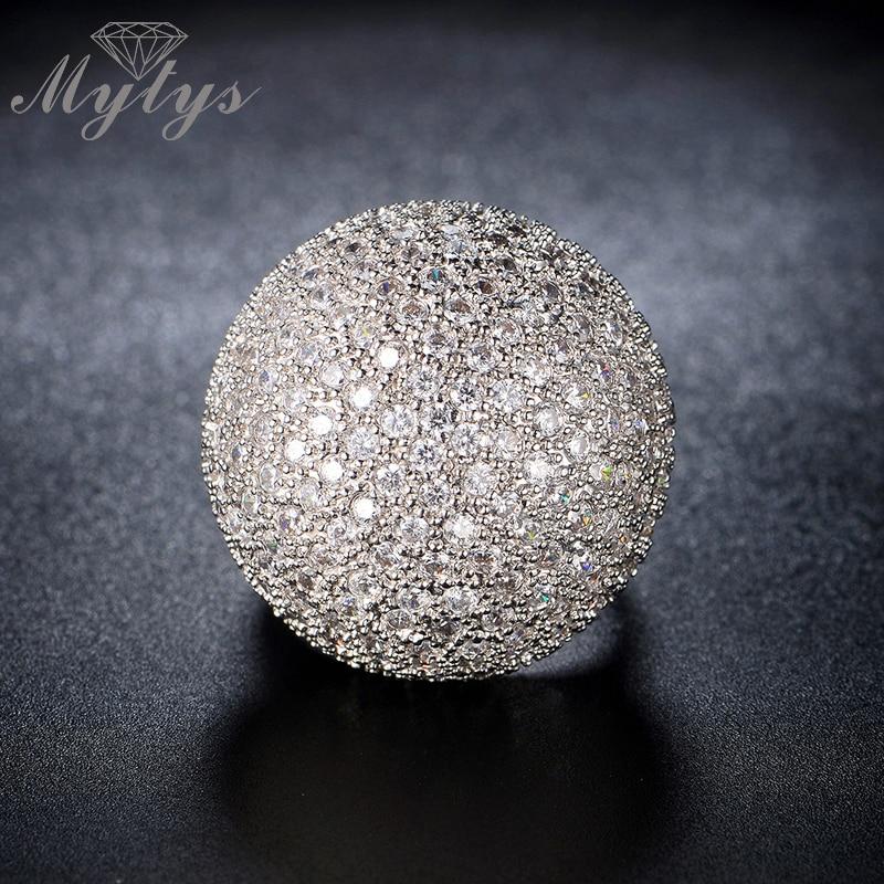 Mytys Pave Postavljanje Kristal Luksuzni zrnasti prsten Oblik kugle - Modni nakit - Foto 6
