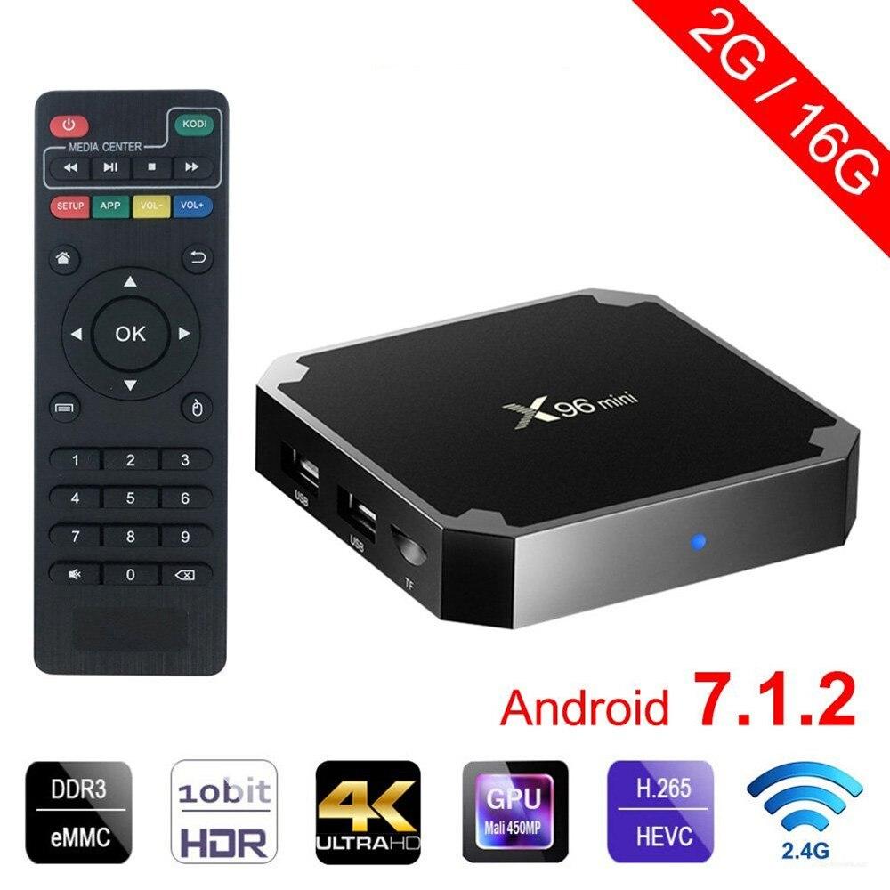 X96 mini tv box Android 7.1.2 2 GB 16 GB andriod TV BOX Amlogic S905W Quad Core Suppot H.265 UHD 4 K WiFi X96mini Set-top boîte