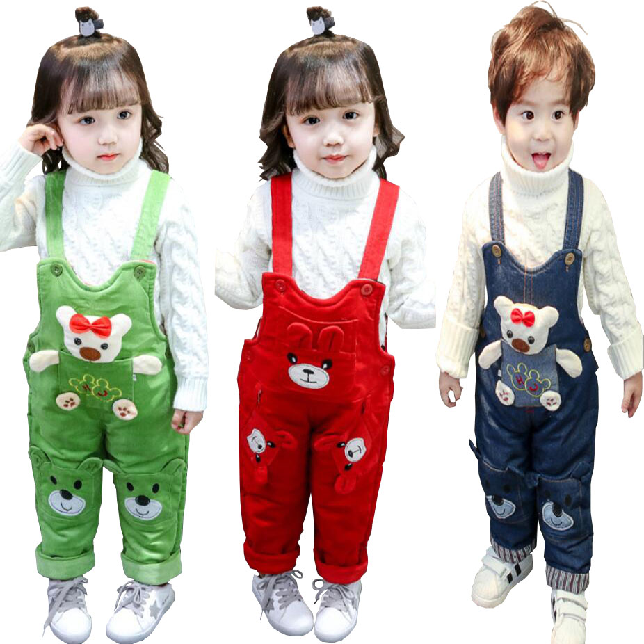 Denim Overalls Suspender-Trousers Girls Kids Winter Pants Jeans Boys Cartoon Casual 1-3T