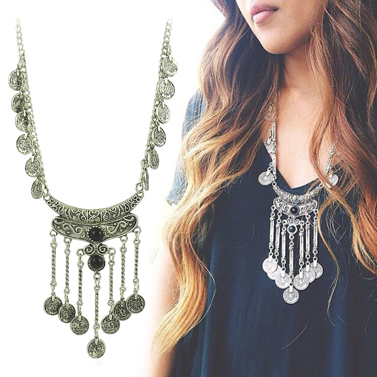 ddbd845f4fab5 US $1.96 30% OFF|New fashion Bohemian Boho Jewelry Antique Silver Tassels  Pendant Long Carving Coins Necklace For Women Fine Jewelry-in Torques from  ...
