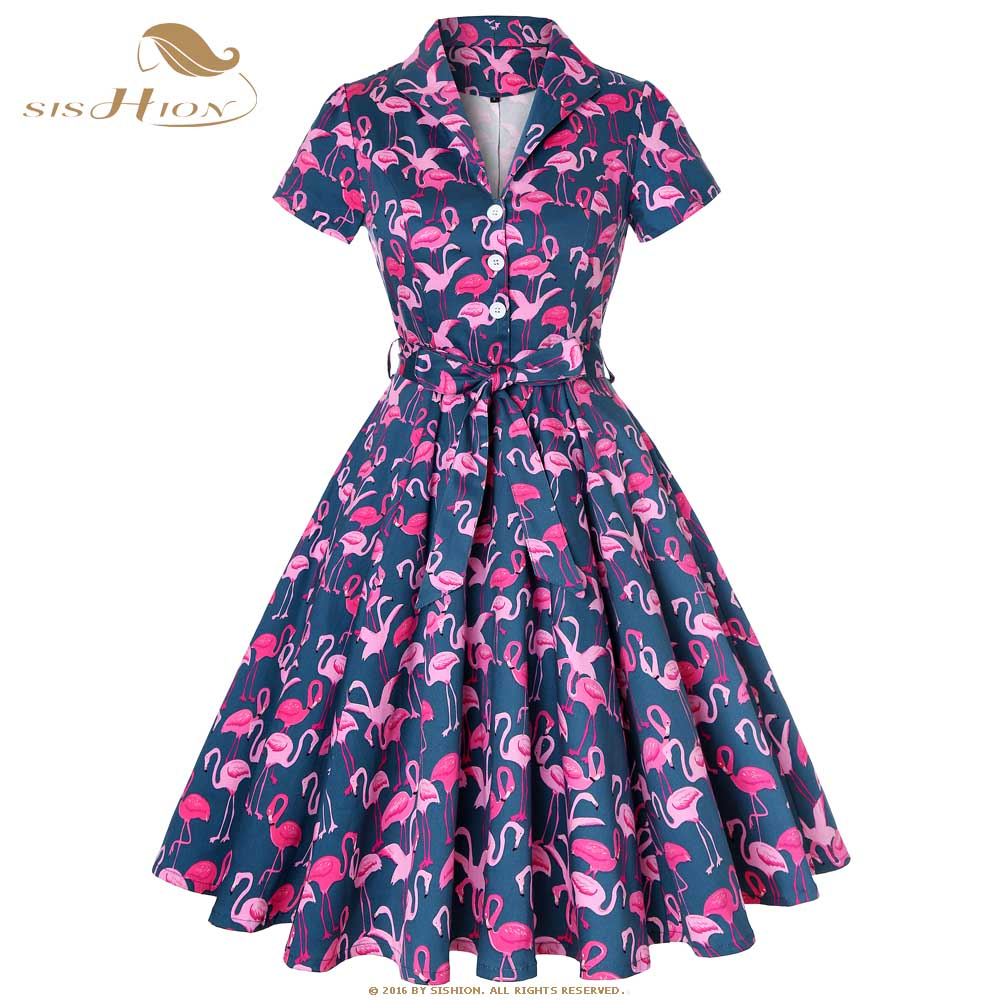 SISHION Elegant Flamingo Dress with Button Women Large Swng Print Plus Size Vintage Rockabilly Cotton Autumn Dress SD0002