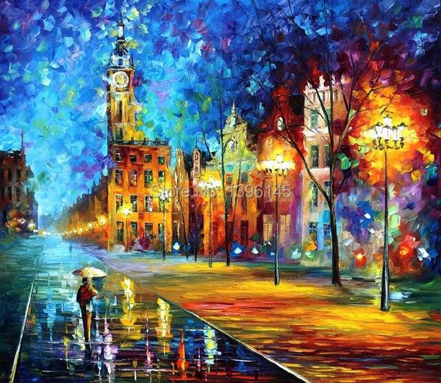 Tienda Online Envío gratis mural Abstracto Paisaje pintura al óleo ...