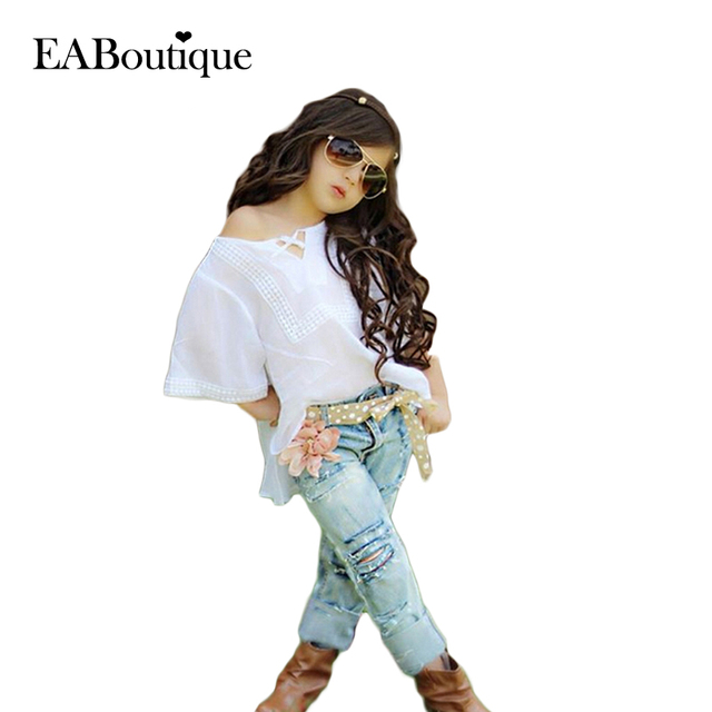 EABoutique fashionable clothing summer-autumn girls clothes set casual T-shirt with jeans 2 piece set