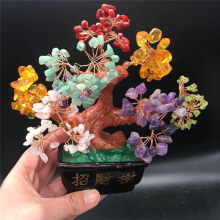 Mini Crystal Tree Bonsai Style Feng Shui Bring Wealth Luck Home Decor Birthday Gift