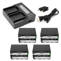 4Pcs 7200mAh NP F970 NP F970 NP F960 NP F950 Camera Battery Rapid LCD Dual Charger