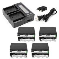 4Pcs 7200mAh NP F970 NP F970 NP F960 NP F950 Camera Battery Rapid LCD Dual Charger
