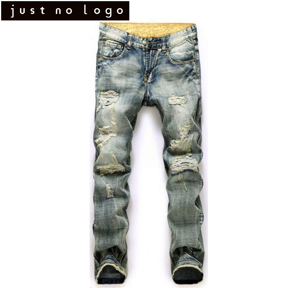 Men HipHop Fashion Biker/Moto Long Denim Straight Jeans Scratched Hole Trousers Destroyed Ripped Distressed Casual Pants for Men new men denim jeans pants scratched patchwork hole beggar trousers fashion straight slim casual vintage mens distressed pants