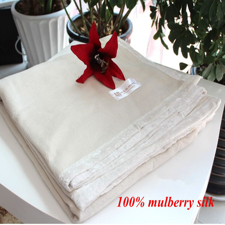 Nature White Color 100% mulberry silk blanket Queen size 180 x 205 cm 1.5 kg on sale
