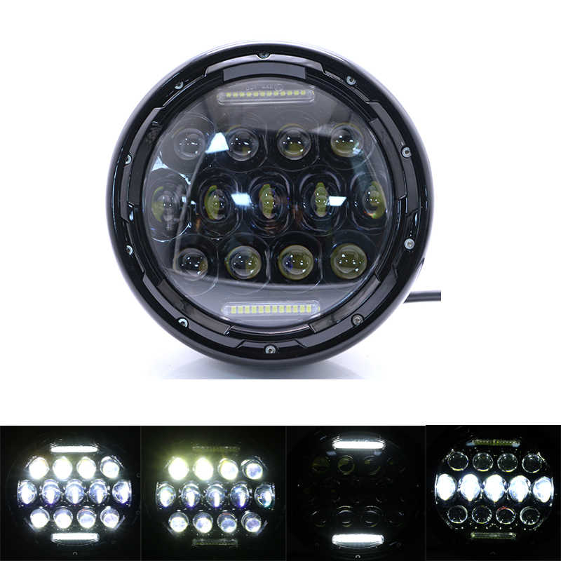 "Universal LED Headlamp for Motorcycle 7"" Retro Black Scooter Headlight Motorbike Refit Round Head Lamp Motor 7 Inch Front Lights"