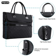 MOSISO Large Capacity Laptop Bags For Women 13.3 14 15 15.6 17.3 inch for macbook air 13 Notebook Handbag with USB Charging Port