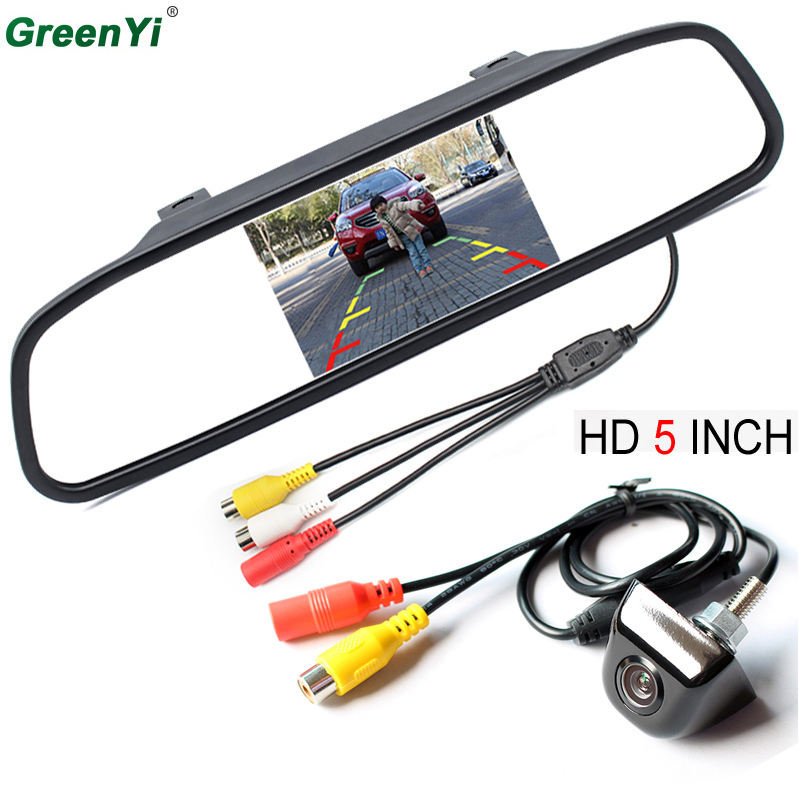GreenYi Auto mirror Monitor Car Parking Assistance System 5 inch HD 800*480 TFT LCD Car Monitor With CCD HD Rear View Camera sinairyu hd 800 480 car mirror monitor 5 tft lcd mirror car parking rear view monitor 2 video input connect rear front camera