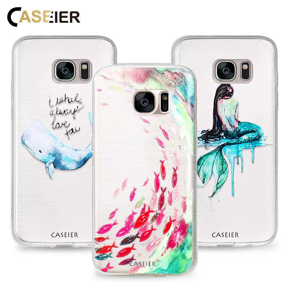 CASEIER Phone Case For Samsung S6 S7 Edge S8 S8 Plus Note 8 Cases Soft TP Cute Fish Cover Relief Silicone Shell Capa Capinha