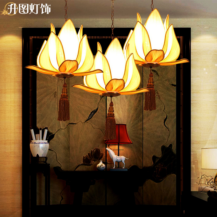The new Chinese classical lotus cloth pendant lamp creative restaurant hotel restaurants clubs antique pendant lights british snooker billiard lamp senior clubs casino card room lamp cradle pendant lights wwy 0431