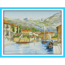 Everlasting love  A lake side town Chinese cross stitch kits Ecological cotton 14CT stamped DIY Christmas decorations for home