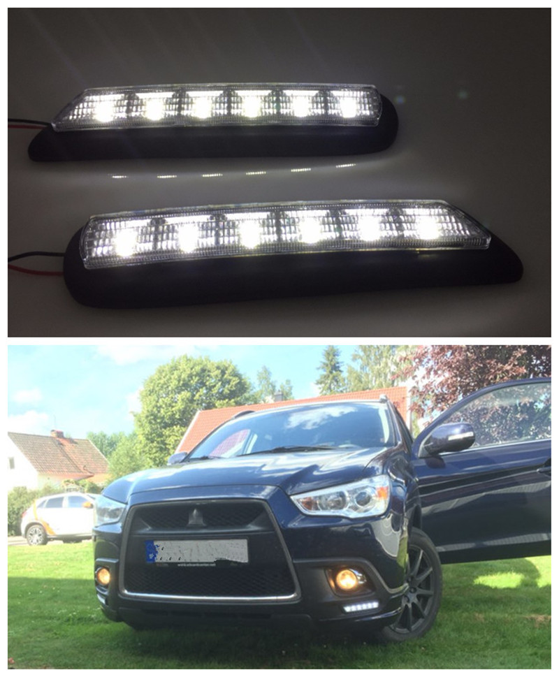 ФОТО Front bumper Replace LED DRL Daytime Running Light Driving Fog Lamps For MITSUBISHI OUTLANDER SPORT RVR ASX 2010 2011 2012