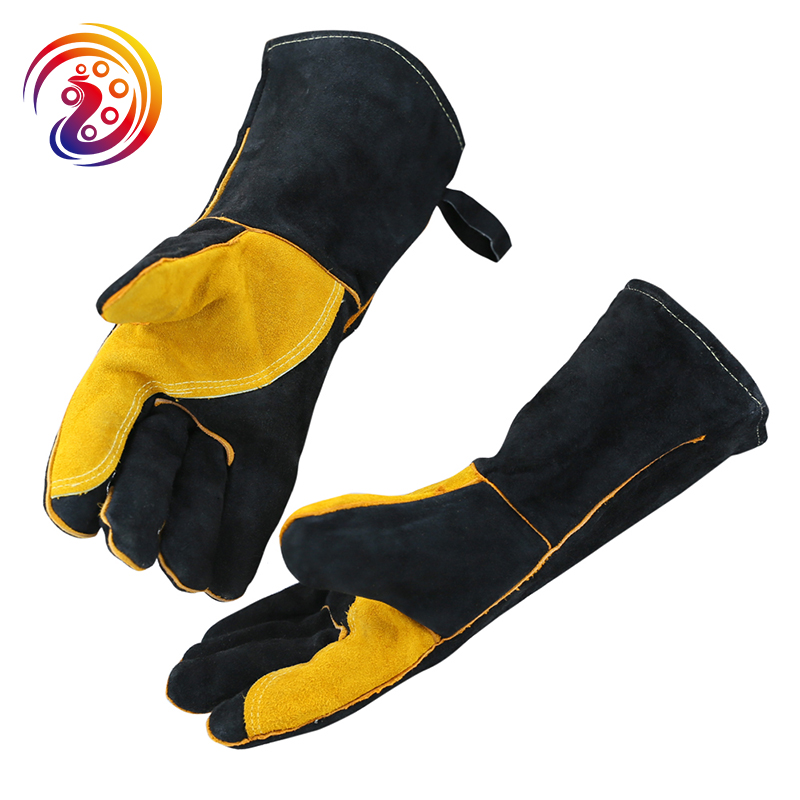 Black Welding Work Gloves with Yellow Palm Welders Thick Cow Split Leather Kitchen Stove Heat Puncture Resistant BBQ Glove(China)