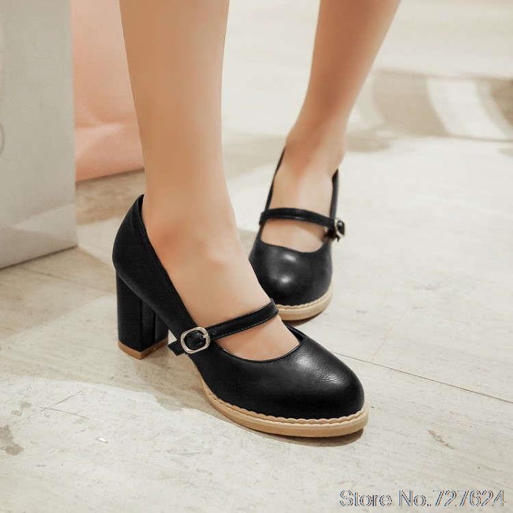 ФОТО Pumps shoes woman PU new 33 40 41 42 high heel 5CM 32-43