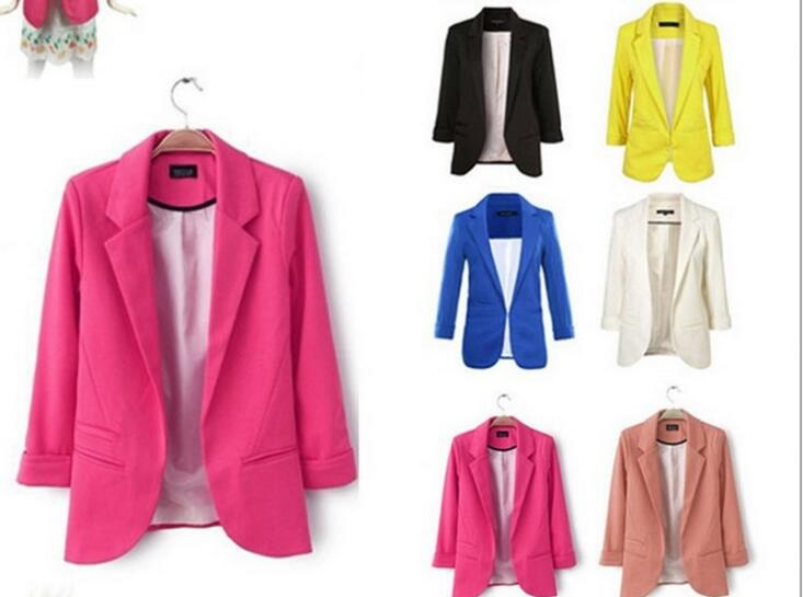 2018 European And American Style Candy Color Small Suit Without Buckle Jacket Seven-point Sleeve(China)