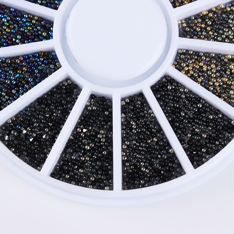 1 Box Mixed Color Small Colorful Beads Nail Rhinestones 3D Nail Decoration In Wheel Manicure Nail Art Decorations 3d white pearl nail art rhinestones 1 wheel 3 sizes nail beads wheel diy manicure nail decorations