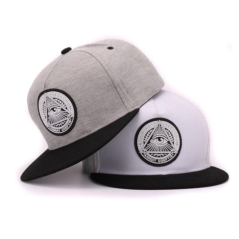 Prix pour Classique 5 panneaux coton snapback 3d dieu yeux en plastique patch hommes plat bord casquette de baseball hip hop chapeau et cap pour hommes et femmes