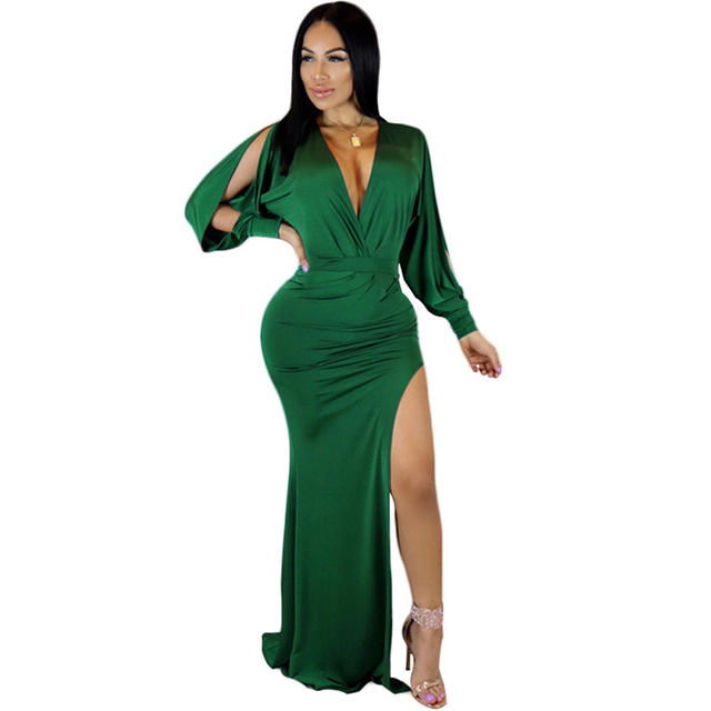 bfecb741fd03 Women High Split Club Dress Solid Deep V Neck Slit Long Sleeve Bodycon  Runway Dress Sexy Ladies Clubwear Chic Party Dress Green-in Dresses from  Women's ...