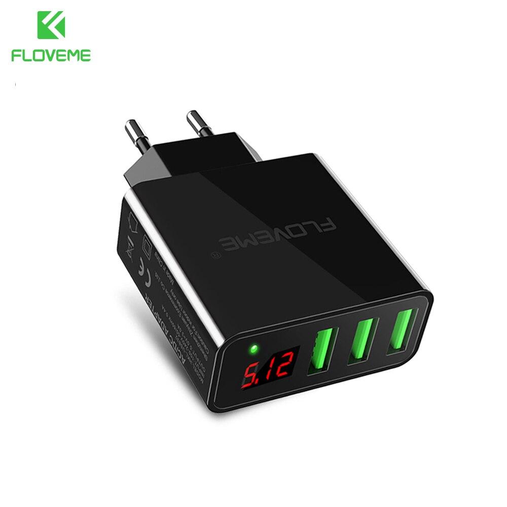 FLOVEME 3 Ports USB Charger 5V/3A LED Display Travel Wall Ch