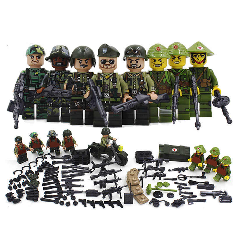 New Compatible LegoINGlys Military American Armies Ww2 Vietnam War Field Battle Figures Building Blocks Model Toys for Boys Gift