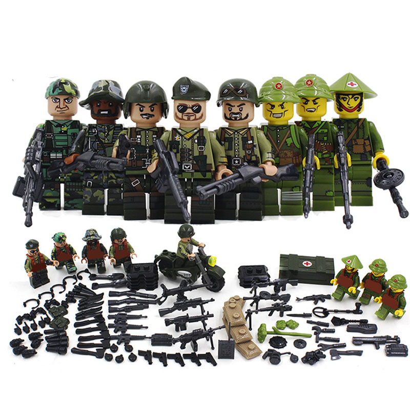 New Compatible LegoINGlys Military American Armies Ww2 Vietnam War Field Battle Figures Building Blocks Model Toys for Boys Gift image