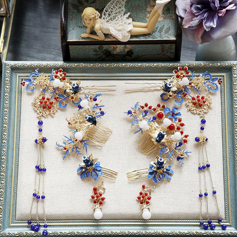 0b06f2c0f Aliexpress.com : Buy Chinese Cloisonne Phoenix crown ornament ancient  costume hairpin classic wedding dragon hair accessories from Reliable Hair  Jewelry ...