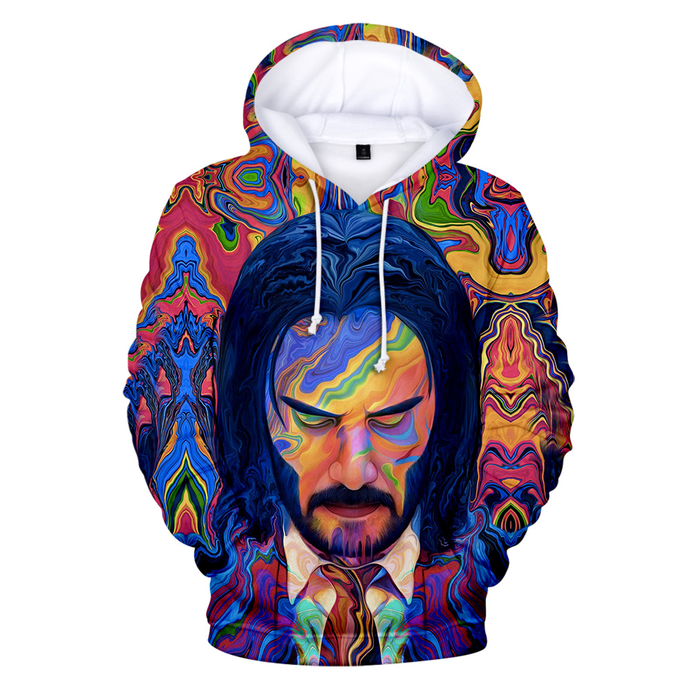 New Funny Crime Thriller Movie John Wick 3 3D Hoodies Chic Fashion Hand-Painted Sweatshirts Pop Slim Sportwear Cool Tops XXS-4XL image