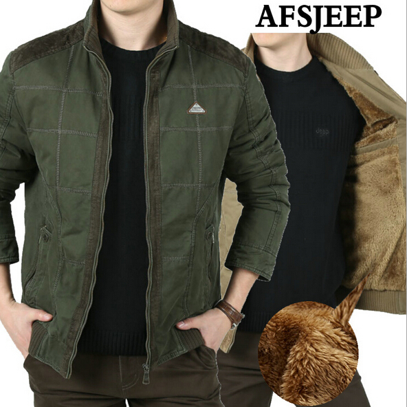 Mens Jackets Thick Loose New 2017 Winter Brand AFS Jeep 100% Original Cotton Plus Size Casual Coats Plaid warm men jacket все цены