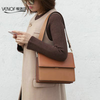 VENOF luxury genuine leather bag for women vintage wide strap shoulder bag terse ladies messenger bag roomy female crossbody bag