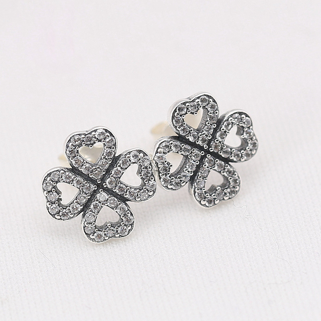 Fashion Petals Of Love Sterling Silver Studs Earrings Female Wedding Ear With Aaa Cz Fit