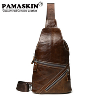 PAMASKIN 2018 New Arrivals Men Chest Bags Premium Real Leather Fashion Zipper Male Cross Body Bags
