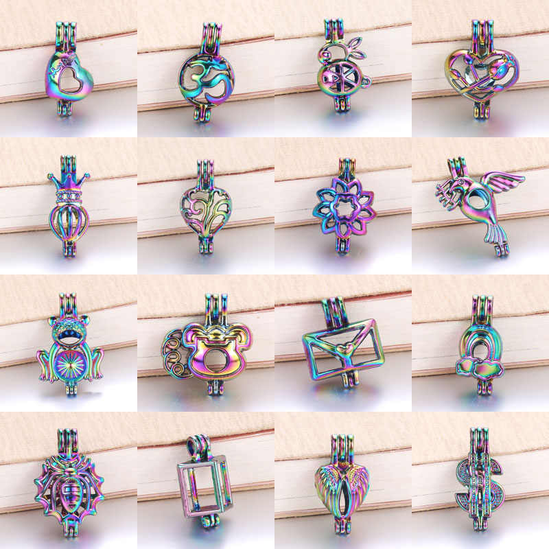 6pcs/lot 16 styles Rainbow Color Pearl Cage Bead Cage Essential Oil Diffuser Locket Pendant DIY Jewelry Making for Oyster Pearl