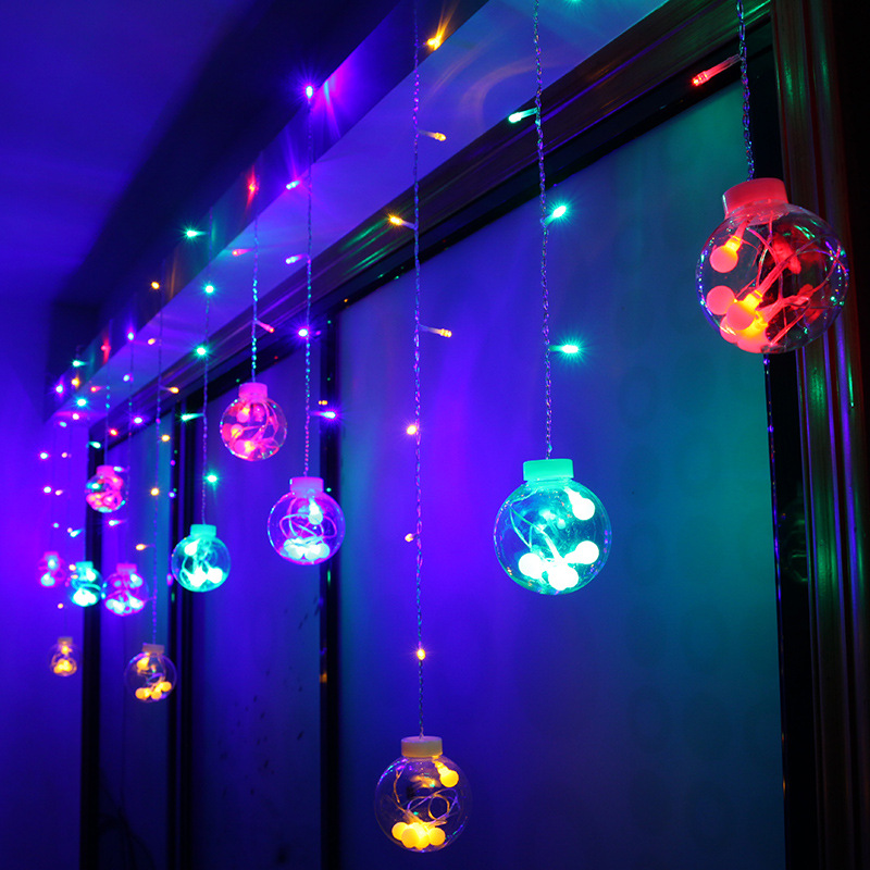 цена на 138LED transparent big ball crystal wish ball curtain light wedding Christmas decoration lantern string light