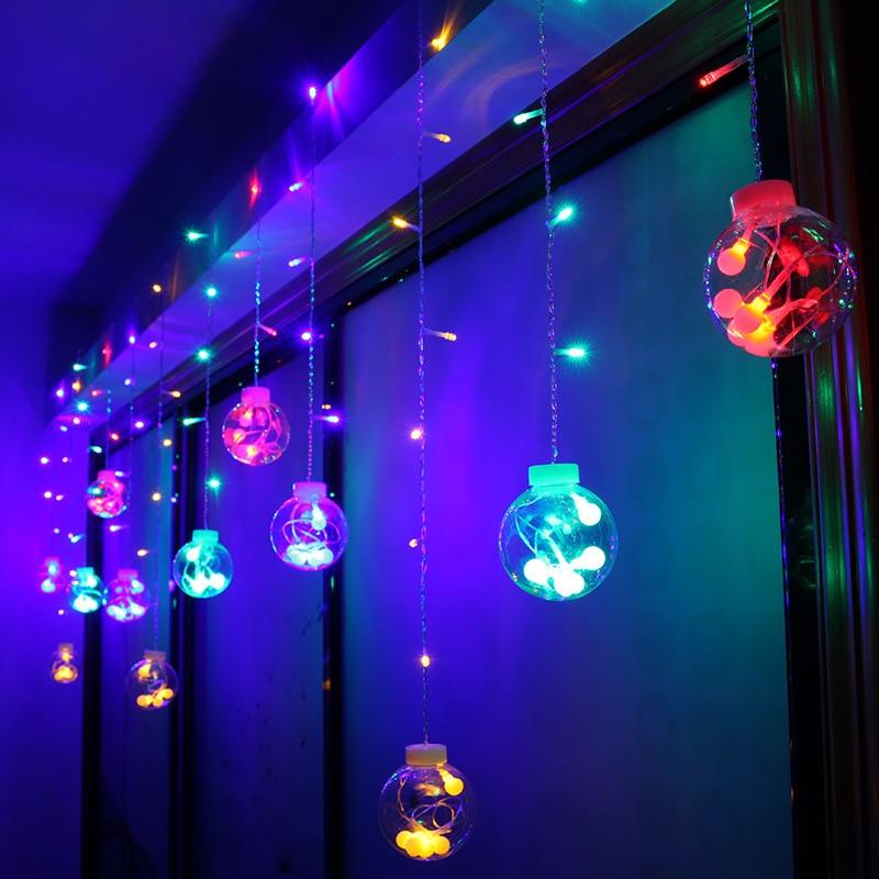 лучшая цена 138LED transparent big ball crystal wish ball curtain light wedding Christmas decoration lantern string light