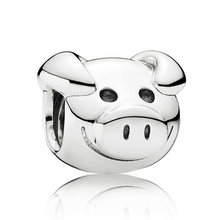 Authentic 925 Sterling Silver Animal Bead Charme Brincalhão Bonito Porco Beads Fit Mulheres Pulseira Pandora Pulseira Diy Jóias(China)