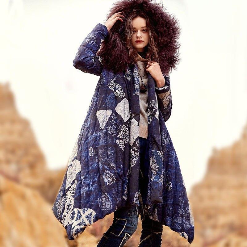 ARTKA 2018 hiver femmes Vintage imprimer 90% blanc canard bas ceintures mongolie mouton fourrure col irrégulière épaisse doudoune ZK10675D