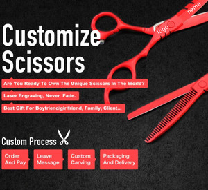 Image 5 - Custom made 5.5 & 6 inch red Piano paint cutting barber thinning scissor cut hair scissors bag shears hairdressing scissors set