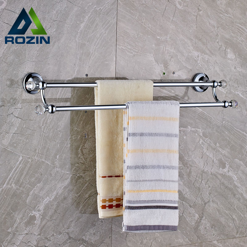 Chrome with Crystal Wall Mount Towel Bar Bathroom Double Towel Rack Brass Towel Rail okaros bathroom double towel bar 60cm towel rack towel holder solid brass golden chrome plating bathroom accessories