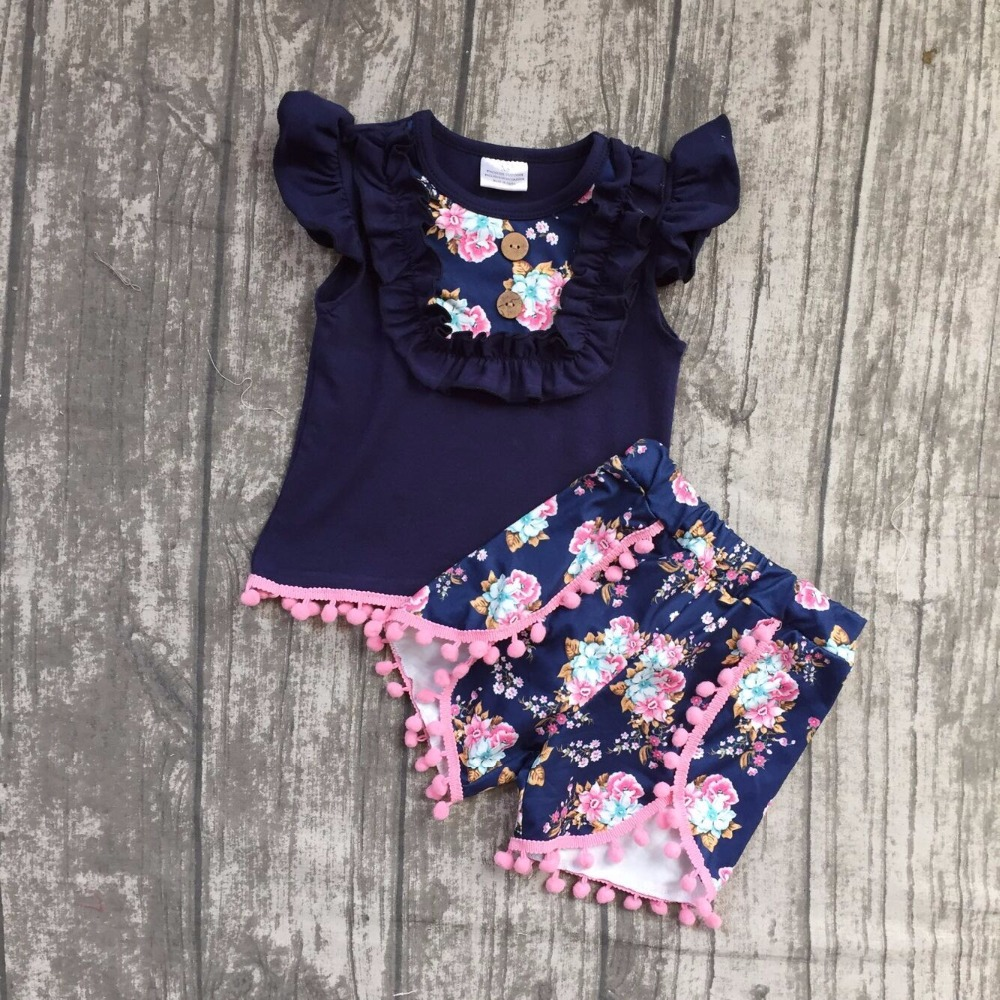 2018 Summer outfit girl kids clothing navy flower sleeveless top short with pom-pom hot sell girls boutique 12m-8t available off shoulder pom pom trim top with shorts