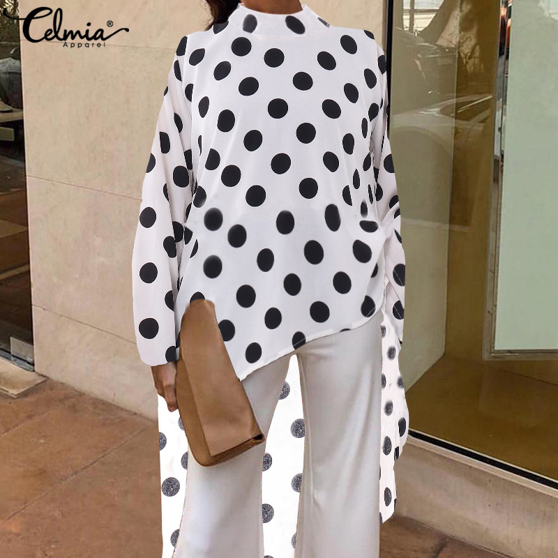 2019 Celmia Women Dot Print Blouses Vintage Shirts Casual Loose Long Sleeve Asymmetrical Tunic Tops Plus Size Long Blusas Mujer