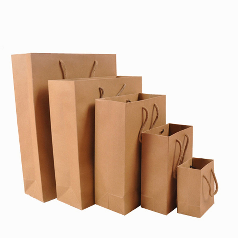 20 Piece No Printing Brown paper bag Shopping Bags Size 100 x 60 x 120 mm ...